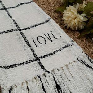 NWT HTF Rae Dunn LOVE Embroidered Cotton Throw